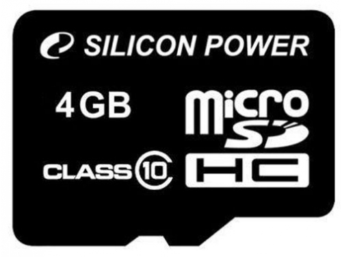 Карта памяти Silicon Power microSDHC 4GB Class 10, вид 1