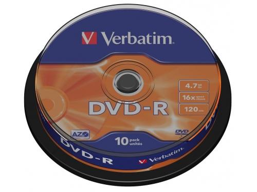 Оптический диск DVD-R Verbatim 4,7 Gb, Cake Box (10 шт), вид 1