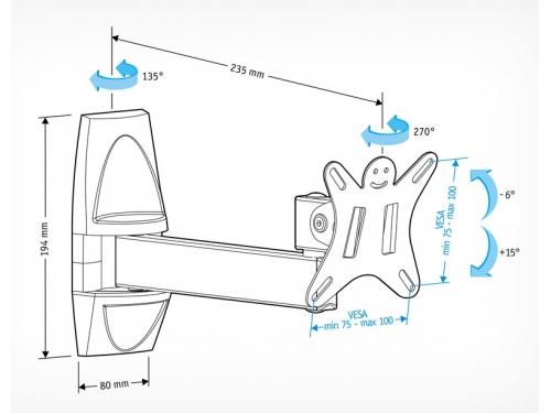 Кронштейн Holder LCDS-5004 (10-26'', 25 кг, настенный, наклон, поворот), графит, вид 2