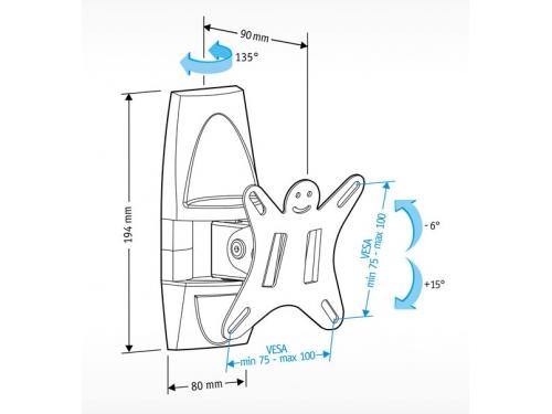 Кронштейн Holder LCDS-5003 (10-26'', 25 кг, настенный, наклон, поворот), графит, вид 2