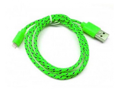 Зарядное устройство Дата-кабель Smartbuy USB - 8-pin для Apple, нейлон, длина 1,2 м, зеленый (iK-512n green)/500, вид 1
