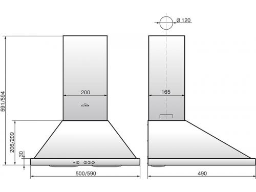 Вытяжка Elikor Оптима 50Н-400-К3Л, нержавеющая сталь, вид 2