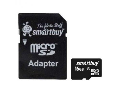 Карта памяти SmartBuy microSDHC Class 10 16GB + SD adapter, чёрный, вид 1