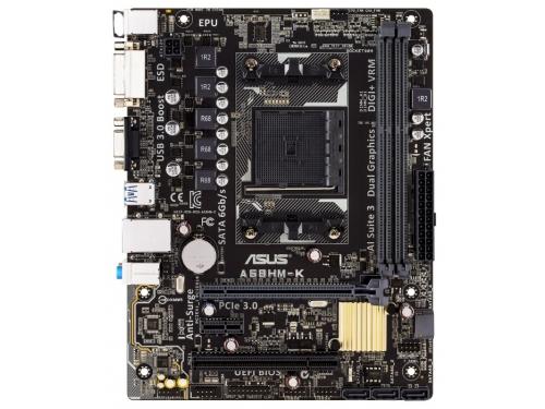 Материнская плата ASUS A68HM-K (Socket FM2+, AMD A68H, DDR3, mATX, GbLAN, SATA3, RAID, VGA + DVI-D), вид 1