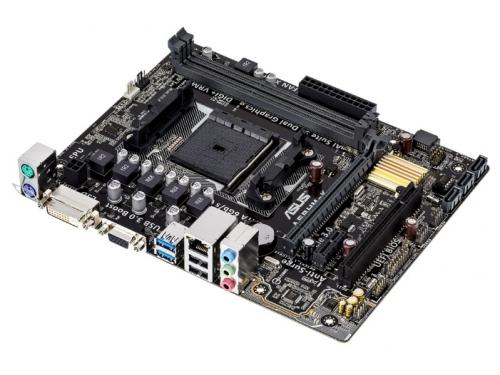 Материнская плата ASUS A68HM-K (Socket FM2+, AMD A68H, DDR3, mATX, GbLAN, SATA3, RAID, VGA + DVI-D), вид 3