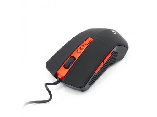 Мышка Gembird MUSOPTI8-809U, USB, черн./красн, soft touch, 2400dpi,4 кнопки + колесо-кнопка, вид 2