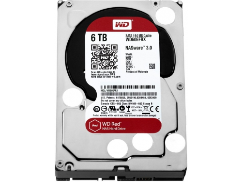 Жесткий диск WD SATA-III 6000Gb 5400, буфер 64Mb WD60EFRX Red, вид 1
