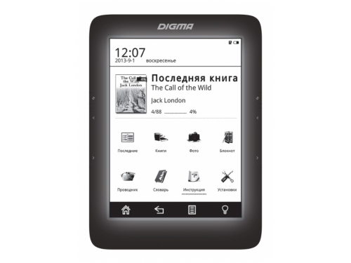 ����������� ����� Digma S676 (6'', E-Ink, 1024x758 Touch, 600MHz 128Mb/4Gb, microSDHC, ���������), ������, ��� 1