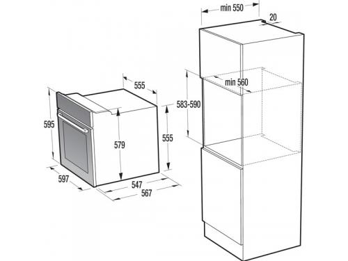 Духовой шкаф Gorenje BO635E20X-M, Встраиваемый электрический, вид 4