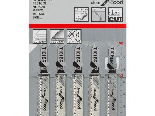 Набор пилок для лобзика BOSCH 2.608.630.014, 5 пилок T101BR HCS, по дереву, вид 2
