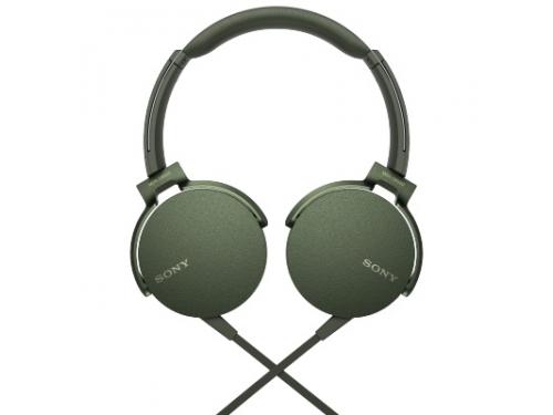 Гарнитура проводная для телефона Sony MDR-XB550AP/G, зеленая, вид 1