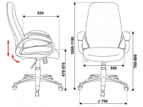 Компьютерное кресло Бюрократ T-700DG/OR-17, серое, вид 5