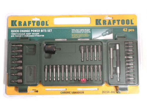 Насадки отвёрточные KRAFTOOL 26154-H42, набор бит + футляр, 41 шт, вид 2