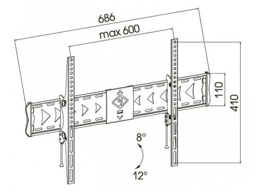 Кронштейн Kromax FLAT-2, тёмно-серый, 37