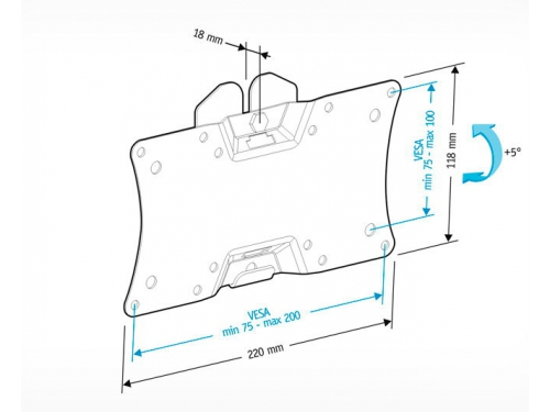 Кронштейн для телевизора Holder LCDS-5060, черный, 19-32'', до 30 кг, настенный с наклоном, вид 3