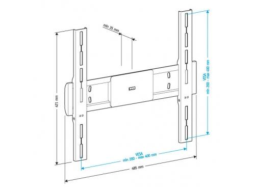 Кронштейн Holder LCD-F4611-B, чёрный, 32-65'', до 40 кг, настенный, фиксированный, вид 2