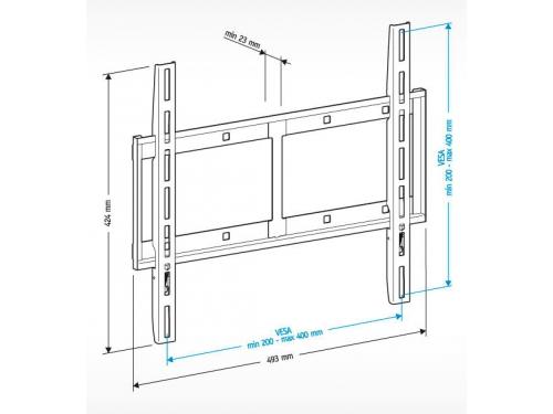 Кронштейн Holder LCD-F4610-B, черный, 32-65'', до 60 кг, настенный, фиксированный, вид 2