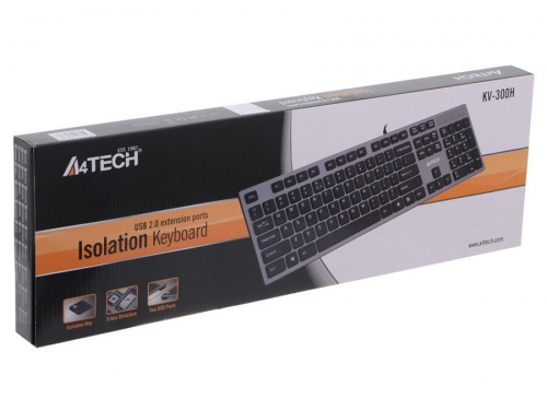 Клавиатура A4Tech KV-300H light Grey USB (ножничная, 2x USB), вид 7