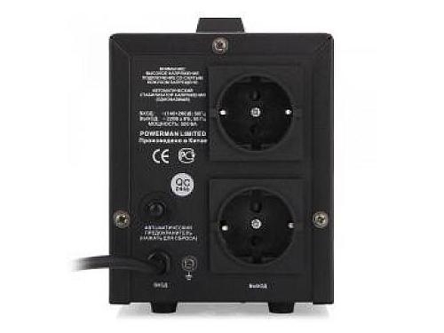 Сетевой фильтр Стабилизатор напряжения PowerMan AVS 1500D 1500VA чёрный, вид 3