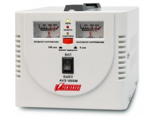 Стабилизатор напряжения PowerMan AVS-1000M (1000 ВА, 2 розетки, электромеханический), вид 1