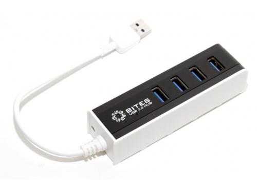 USB-концентратор 5BITES HB34-306BK (4 порта USB 3.0, пассивный), бело-чёрный, вид 1