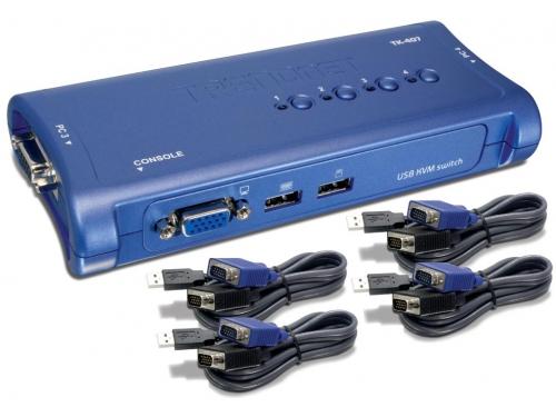 KVM-переключатель TRENDnet 4-port USB KVM Switch TK-407K, вид 1