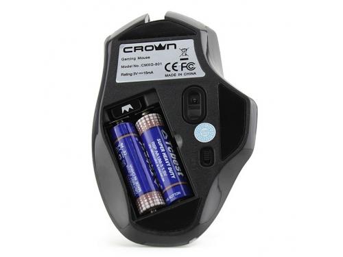 Мышка CROWN Gaming CMXG-801 (оптическая, радиоканал, 2xAA, 6+1 кнопок), чёрная, вид 7