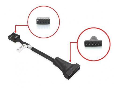 Кабель (шнур) Espada EPOW10pin20pin, переходник USB2.0 header (F) — USB 3.0 header (M), 15 см, вид 2