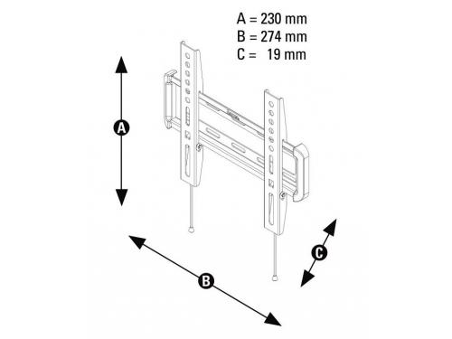 Кронштейн Hama H-118632, для ЖК ТВ (10''- 47'', до 25 кг, настенный, фиксированный), вид 4