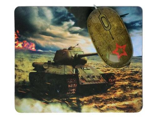 Мышка CBR Tank Battle,  1200 dpi, рисунок, USB + коврик, вид 5