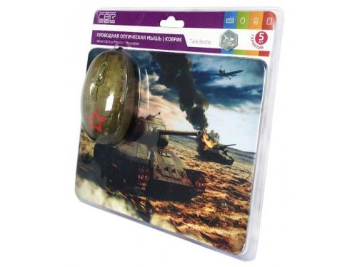 Мышка CBR Tank Battle,  1200 dpi, рисунок, USB + коврик, вид 6