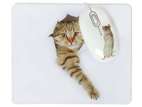 Мышка CBR Capture,  1200 dpi, рисунок, USB + коврик, вид 4