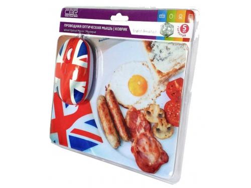 Мышка CBR Breakfast,  1200 dpi, рисунок, USB + коврик, вид 6