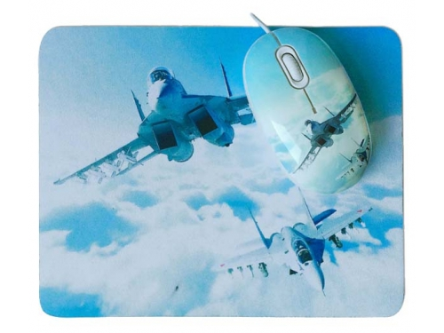 Мышка CBR Aero Battle,  1200 dpi, рисунок, USB + коврик, вид 4