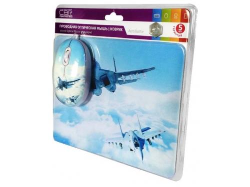 Мышка CBR Aero Battle,  1200 dpi, рисунок, USB + коврик, вид 5