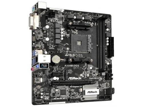 Материнская плата ASRock A320M-DGS (Soc-AM4, AMD A320,DDR4 DIMM, 2133-3200 МГц), вид 3