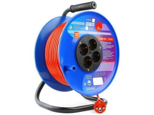 Удлинитель электрический PowerCube PC-BG4-K-40, оранжево-синий, вид 1
