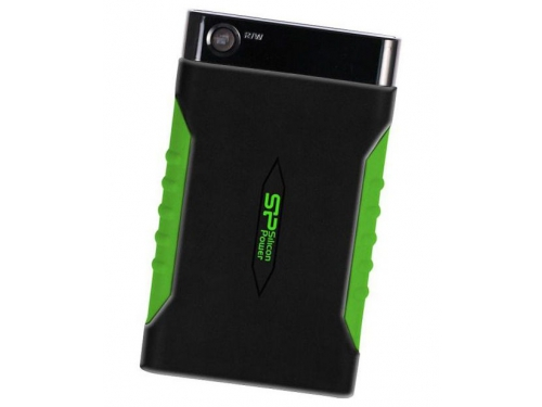 Жесткий диск Silicon Power Armor A15 1TB (SP010TBPHDA15S3K, внешний), чёрно-зеленый, вид 1