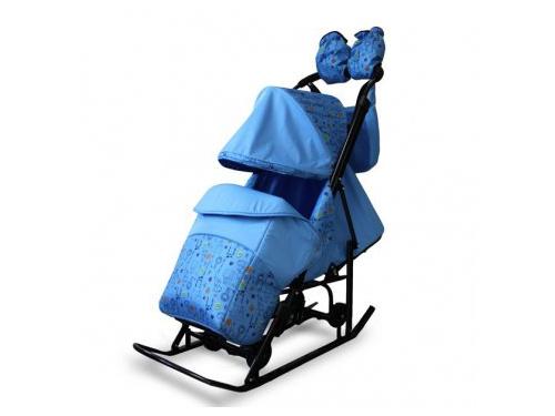 Санки Kristy Comfort Plus 3В  Зоопарк/Голубой, вид 1