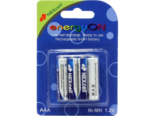 Батарейка Nexcell EnergyON, аккумуляторы (1.2 В, 800 мАч Ni-MH AAA, с пониженным саморазрядом, 4 шт.), вид 1