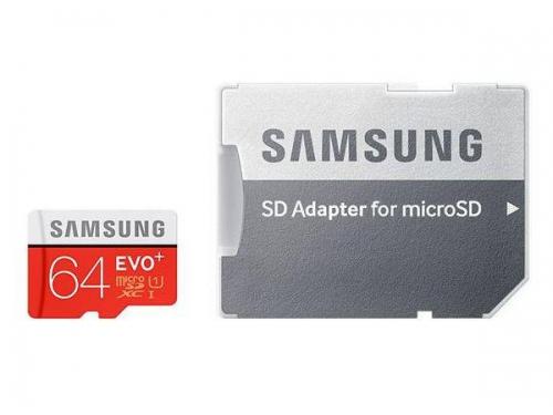 Карта памяти Samsung EVO PLUS MicroSDXC 64Gb (Class10, U1, R/W 80/20 MB/s) с адаптером, вид 1