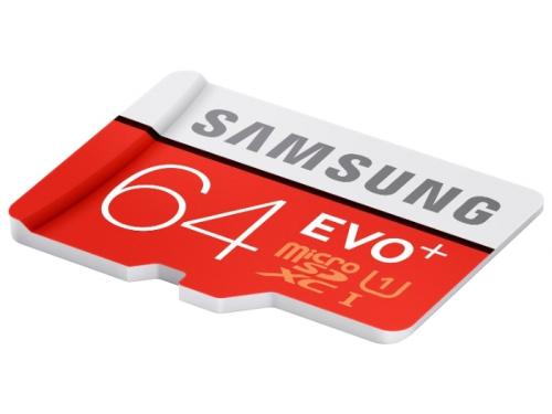 Карта памяти Samsung EVO PLUS MicroSDXC 64Gb (Class10, U1, R/W 80/20 MB/s) с адаптером, вид 2