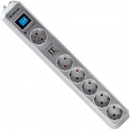 Сетевой фильтр Defender DFS 501 (6 розеток) 2.0 м 99051