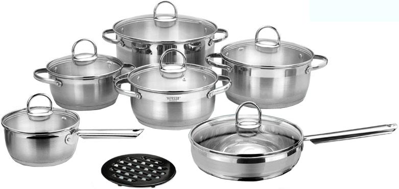 Набор посуды Vitesse Flora VS-1043 (13 предметов, комбинированная полировка)