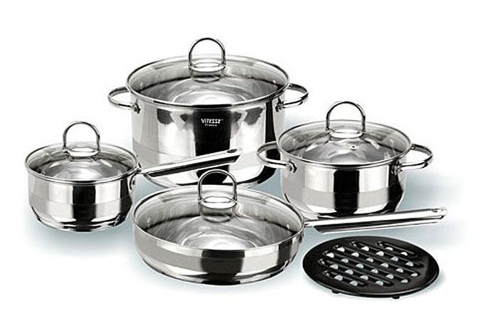 Набор посуды Vitesse Azura VS-1005 (9 предметов, полировка комбинированная)