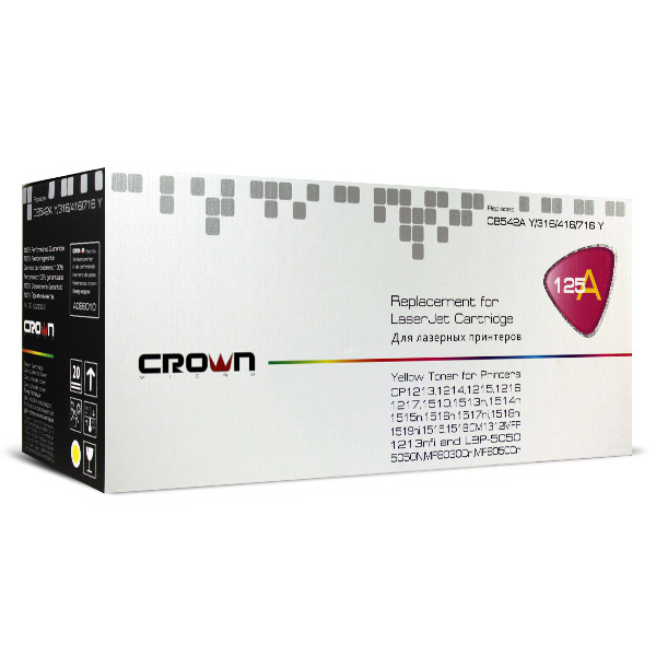 Картридж Crown CM-CB542A, лазерный, жёлтый CM000001279