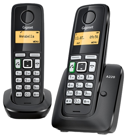 Радиотелефон Gigaset A220 DUO, чёрный