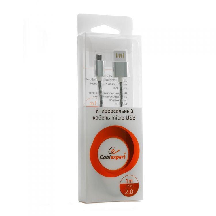 Кабель / переходник Gembird USB 2.0 Cablexpert 1 м ( CCB-mUSBs1m) серебристый металлик