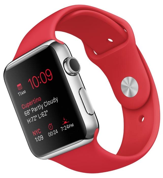 Умные часы apple Watch with Sport Band нержавеющая сталь / красные MLLE2RU/A