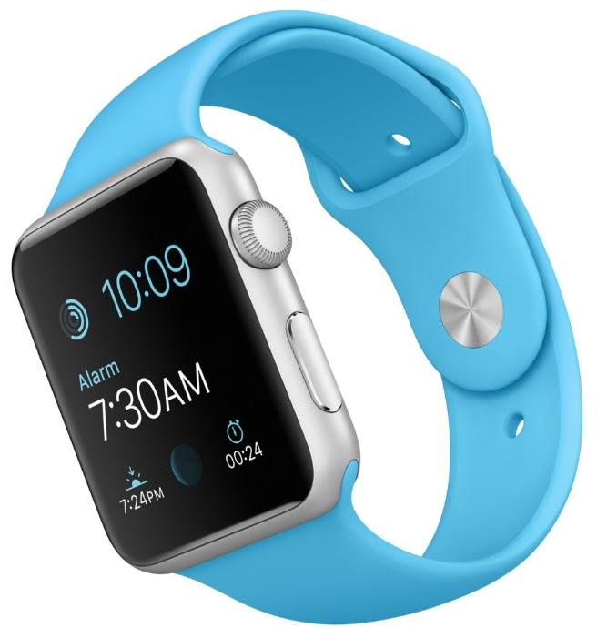 Умные часы apple Watch with Sport Band серебристый алюминий, ремешок кобальт MLC52RU/A
